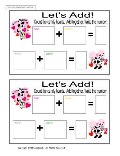 Worksheet: Addition - Candy Hearts (primary)
