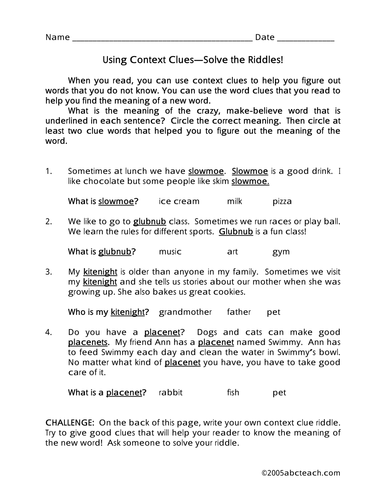 Worksheet: Context Clues (elementary)