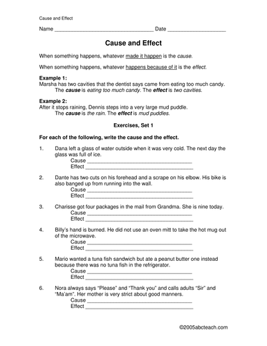 Worksheets: Causes and Effects (elem/ upper elementary)