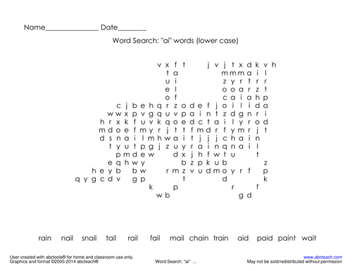 """Word Search:  double vowel """" ai """""""