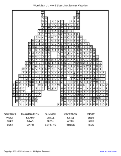 Word Search: Book - How I Spent My Summer Vacation