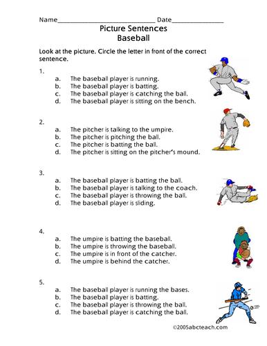 Worksheet: Picture Sentences - Baseball (primary)