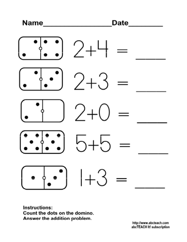 worksheet domino addition  kdgprimary by abcteach  teaching  worksheet domino addition  kdgprimary by abcteach  teaching resources   tes