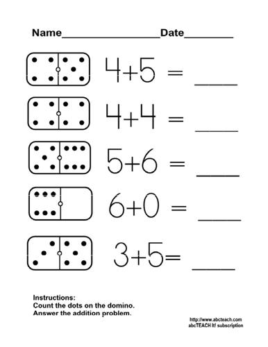 Worksheet: Domino Addition 3 (kdg/primary)