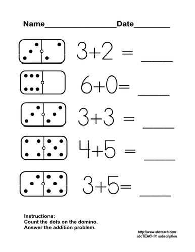 worksheet domino addition 5 kdg primary by abcteach teaching resources. Black Bedroom Furniture Sets. Home Design Ideas