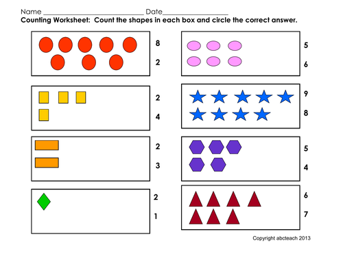 Worksheet: Counting Shapes (pre-k/primary)