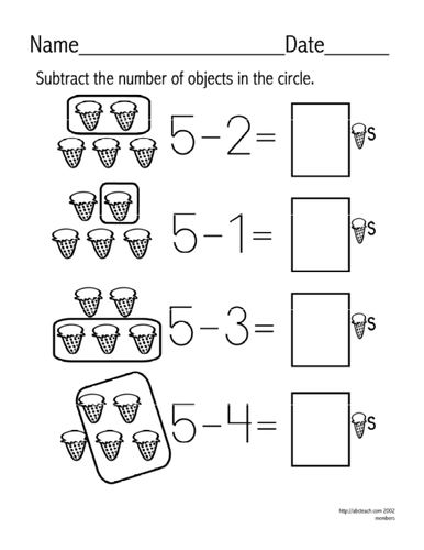 Worksheet: Subtraction - facts up to 5 (set 5)