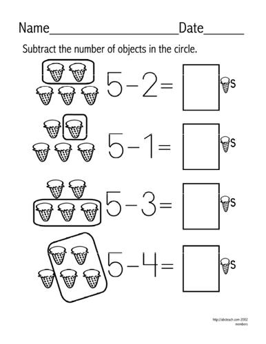 worksheet subtraction facts up to 5 set 5 teaching. Black Bedroom Furniture Sets. Home Design Ideas
