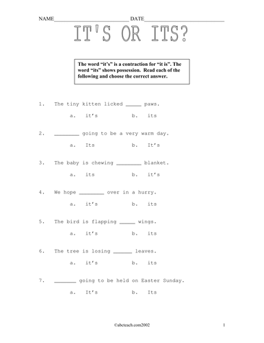Worksheets: Its or It's? (elementary)