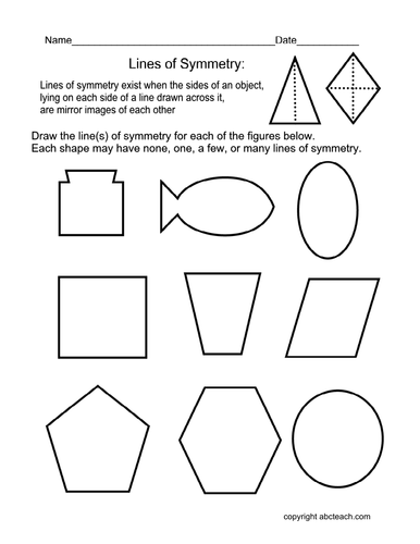 Drawing Lines Of Symmetry : Worksheet draw lines of symmetry elem by abcteach