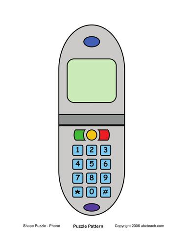 Shape Puzzle: Cell Phone (color)