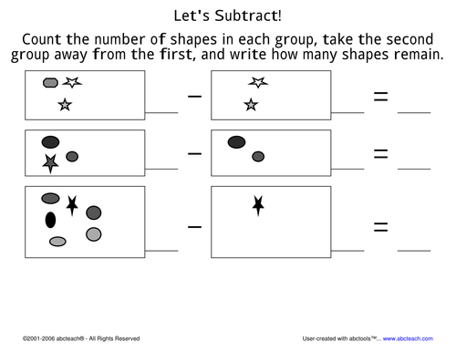 Worksheet: Subtraction Facts to 10 (pre-k/primary) 3