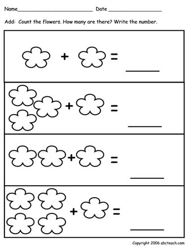 Worksheet: Addition to 10 - Flower theme (pre-k)