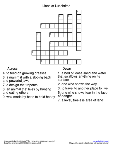 Crossword: Lions at Lunchtime (primary)