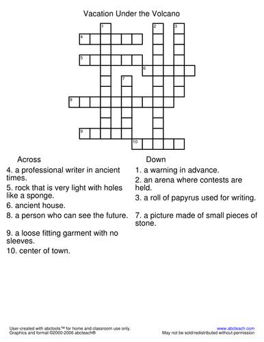Crossword: Vacation Under the Volcano (primary/elem)