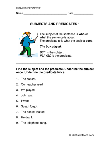 Worksheets: Grammar - Subject and Predicate (elem)