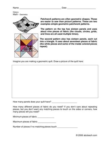 Worksheet: American Patchwork Geometry (upper elem/middle)