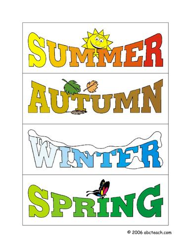 Game: Sort the Seasons (primary/elem)