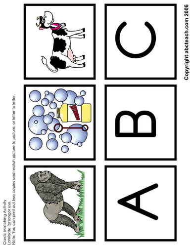 Matching: Alphabet Words (A-I), uppercase letters