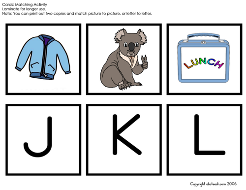 Matching: Alphabet Words (J-R), uppercase letters