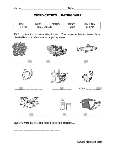 Word Crypto: Nutrition theme (primary/elem) - clues