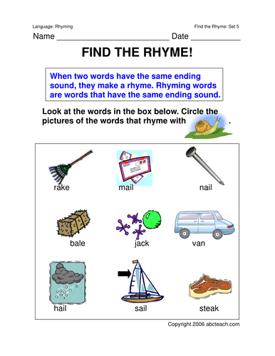 Worksheets Rhyming Words 5 Primary Teaching Resources