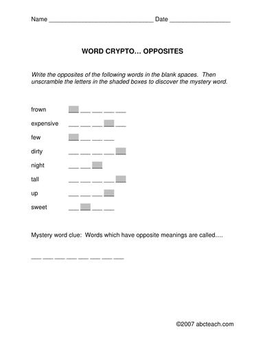 Word Crypto: Antonym theme (elem/ upper elem)