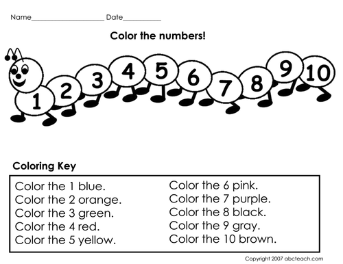 Worksheet: Color the Numbers (prek/primary) by abcteach | Teaching ...
