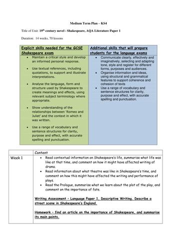 Romeo and Juliet scheme and resources - GCSE AQA/Edexcel