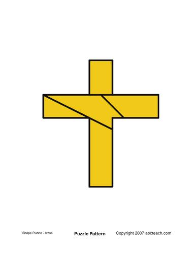 Shape Puzzle: Easter Cross (color)