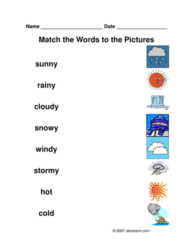 worksheet matching weather by abcteach teaching resources. Black Bedroom Furniture Sets. Home Design Ideas