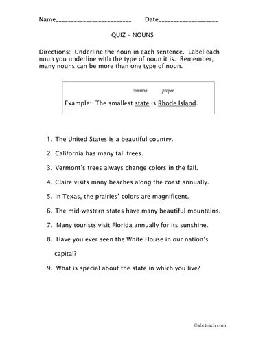 Worksheet: Nouns (elem/upper elem)