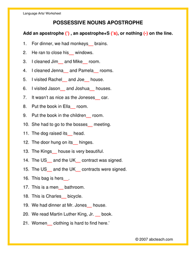 Worksheet: Apostrophes & Possessives (elem/upper)