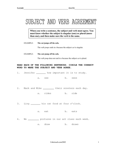 Worksheets: Subject/ Verb Agreement (upper elem)