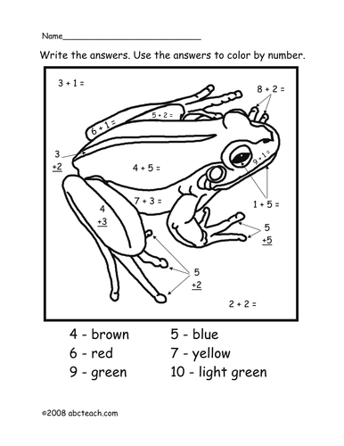 Addition: Color by Number - Adding to Ten - Frog (primary)