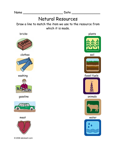 Worksheet Matching Natural Resources Primary Elem By