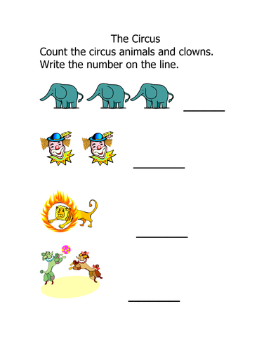 Worksheet: Counting up to 3 (pre-k) -Circus theme