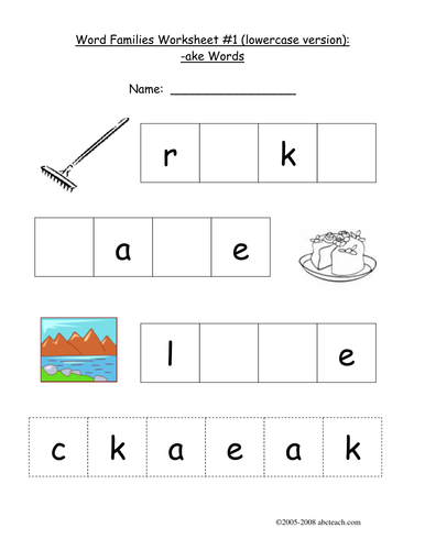 Worksheet Ake Word Family By Abcteach Teaching Resources Tes