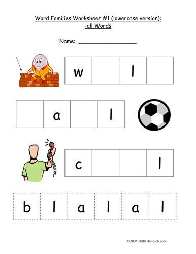 Worksheet: -ALL Word Family