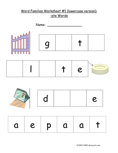 Worksheet: -ATE Word Family