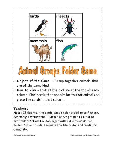 Sorting Game: Animal Groups (color)