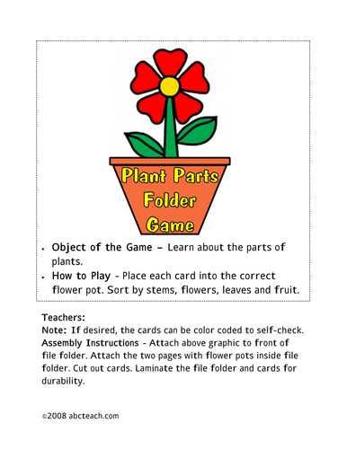Sorting Game: Plant Parts (color)