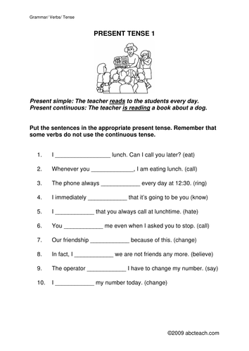 Worksheet: Present Simple or Present Continuous 1 (upper elem/ESL)