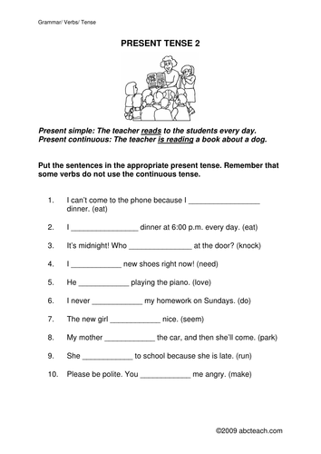 Worksheet: Present Simple or Present Continuous 2 (upper elem/ESL)