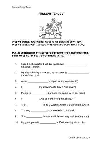 Worksheet: Present Simple or Present Continuous 3 (upper elem/ESL)