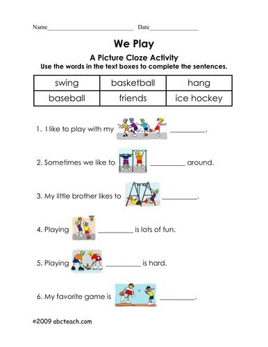 Worksheet: Picture Cloze - Play (elem)
