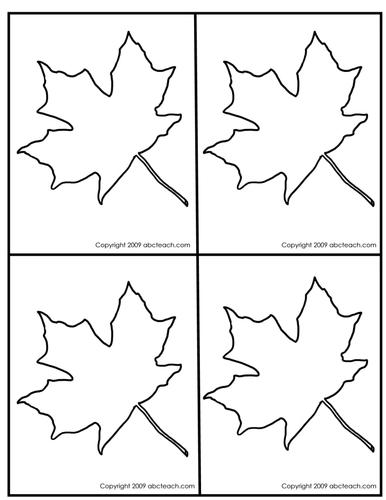 Punch Pin Card: Maple Leaf outline - 4 per page (Montessori/preschool)