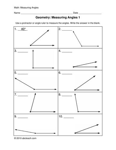 Worksheets: Measuring Angles (upper elem)