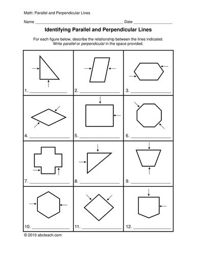Worksheets: Parallel and Perpendicular (upper elem)