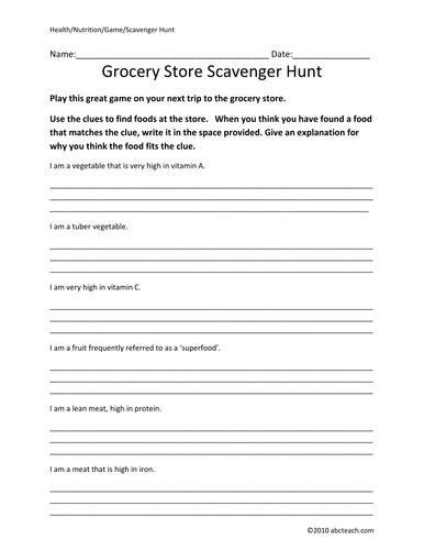 Game: Nutrition-Grocery Store Scavenger Hunt (upper elem/middle)
